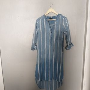 AUW anthropologie chambray striped dress